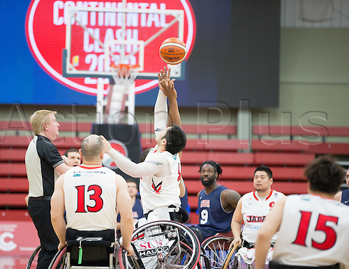 03.07.2016. Leicester Sports Arena, Leicester, England. Continental Clash Wheelchair Basketball, USA versus Japan.  Trevon Jenifer (USA) and Reo Fujimoto (JPN) at the start of the match