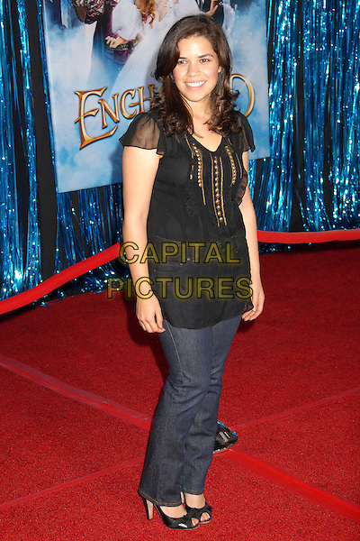 "AMERICA FERRERA.""Enchanted"" Los Angeles Premiere at the El Capitan Theatre, Hollywood, California, USA..November 17th, 2007.full length black tunic top jeans denim.CAP/ADM/BP.©Byron Purvis/AdMedia/Capital Pictures."