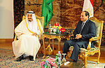 King Salman bin Abdulaziz Al Saud of Saudi Arabiaattends a meeting with the President of Egypt Abdel Fattah el-Sisi at the Egyptian Presidential Palace in Cairo, Egypt on April 8, 2016. Photo by Egyptian President Office