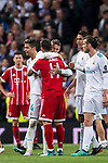 Sergio Ramos of Real Madrid embraces James Rodriguez of FC Bayern Munich after the UEFA Champions League Semi-final 2nd leg match between Real Madrid and Bayern Munich at the Estadio Santiago Bernabeu on May 01 2018 in Madrid, Spain. Photo by Diego Souto / Power Sport Images