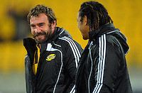 Hurricanes hooker Andrew Hore chats with Tana Umaga after the match. Super 15 rugby match - Hurricanes v Chiefs at Westpac Stadium, Wellington, New Zealand on Saturday, 12 March 2011. Photo: Dave Lintott / lintottphoto.co.nz