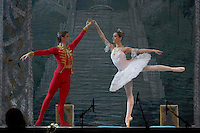 Guest stars Marianna Ryzhkina (right) and Andrei Yevdokimov (left), solists from the Russian Bolsoj dance main roles in The Nutcracker during the christmas holiday performance of the Hungarian National Ballet Company in in Budapest, Hungary on December 22, 2006. ATTILA VOLGYI