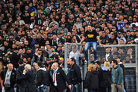 Napoli's midfielder Marek Hamsik speaks with supporters prior to the Italy Cup final soccer match between ACF Fiorentina and SSC Napoli at the Olimpico stadium in Rome, Italy, 03 May 2014 Gennaro de Tommaso, the leader of SSC Napoli 'Curva A' supporters nicknamed Genny a Carogns
