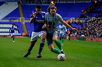4th January 2020; St Andrews, Birmingham, Midlands, England; English FA Cup Football, Birmingham City versus Blackburn Rovers; Sam Gallagher of Blackburn Rovers and Jake Clarke-Salter of Birmingham City challenge for the ball - Strictly Editorial Use Only. No use with unauthorized audio, video, data, fixture lists, club/league logos or 'live' services. Online in-match use limited to 120 images, no video emulation. No use in betting, games or single club/league/player publications