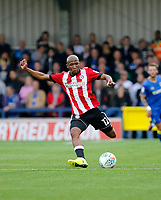 Brentford's Kamehelo Mokotjo in action during the Carabao Cup match between AFC Wimbledon and Brentford at the Cherry Red Records Stadium, Kingston, England on 8 August 2017. Photo by Carlton Myrie.