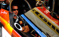 Jan. 21, 2012; Jupiter, FL, USA: NHRA top fuel dragster driver Spencer Massey during testing at the PRO Winter Warmup at Palm Beach International Raceway. Mandatory Credit: Mark J. Rebilas-