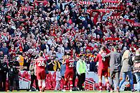 Liverpool fans applaud their side at the final whistle<br /> <br /> Photographer Rich Linley/CameraSport<br /> <br /> The Premier League - Liverpool v Wolverhampton Wanderers - Sunday 12th May 2019 - Anfield - Liverpool<br /> <br /> World Copyright © 2019 CameraSport. All rights reserved. 43 Linden Ave. Countesthorpe. Leicester. England. LE8 5PG - Tel: +44 (0) 116 277 4147 - admin@camerasport.com - www.camerasport.com