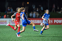 Boston, MA - Friday May 19, 2017: Nadia Nadim and Christen Westphal during a regular season National Women's Soccer League (NWSL) match between the Boston Breakers and the Portland Thorns FC at Jordan Field.