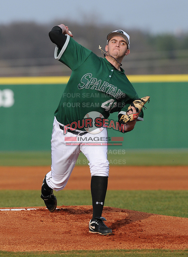 Pitcher David Palladino (41) of the University of South Carolina Upstate Pioneers makes his first college start in a game against the Furman Paladins on January 22, 2012, at Harley Baseball Park in Spartanburg, South Carolina. Drafted by the Los Angeles Dodgers in the 13th round of the 2011 First-Year Player Draft, Palladino opted instead to pitch in college. Palladino got the win, 17-3. (Tom Priddy/Four Seam Images)