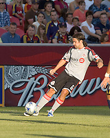Toroton FC defender Nick Garcia (6) crosses the ball. Salt Lake Real defeated Toronto FC, 3-0, at Rio Tinto Stadium on June 27, 2009.