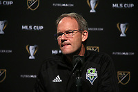 SEATTLE, WA - NOVEMBER 9: Head coach Brian Schmetzer of the Seattle Sounders FC at CenturyLink Field on November 9, 2019 in Seattle, Washington.