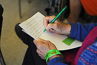 Machynlleth, Wales. 29th July, 2017. <br /> Participants taking part in a writing and poetry workshop organised by the Hispano-American Women writers group<br /> Photographer; Kevin Hayes