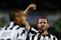 Calcio, Coppa Italia: semifinale di ritorno Fiorentina vs Juventus. Firenze, stadio Artemio Franchi, 7 aprile 2015. <br /> Juventus' Leonardo Bonucci, right, celebrates past his teammate Arturo Vidal after scoring during the Italian Cup semifinal second leg football match between Fiorentina and Juventus at Florence's Artemio Franchi stadium, 7 April 2015.<br /> UPDATE IMAGES PRESS/Isabella Bonotto