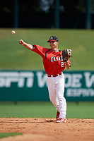 Canadian Junior National Team Austin Gomm (27) throws to first base during a Florida Instructional League game against the Atlanta Braves on October 9, 2018 at the ESPN Wide World of Sports Complex in Orlando, Florida.  (Mike Janes/Four Seam Images)