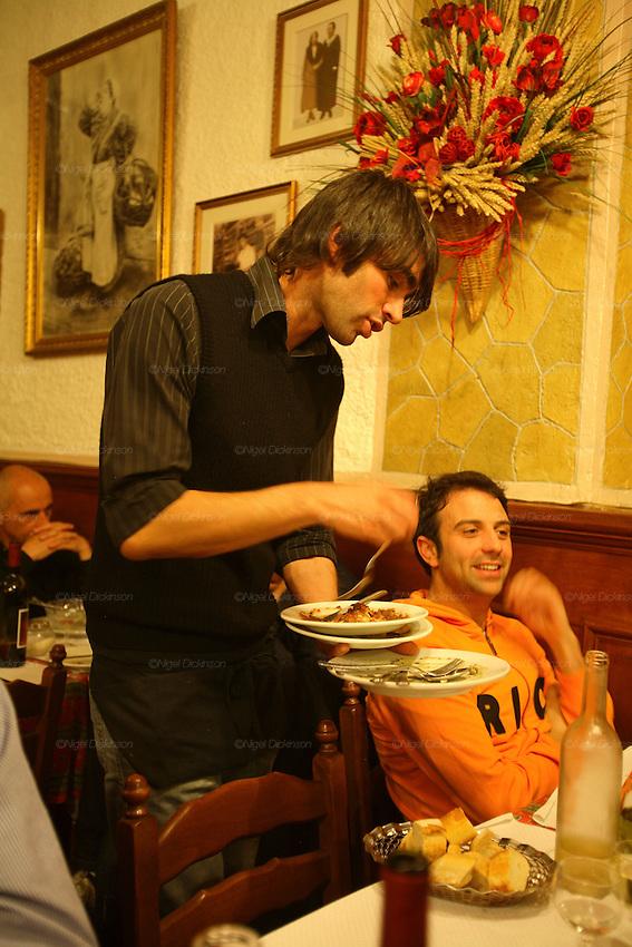 RESTAURANTS, Cote d'Azur. France. Acchiardo Restaurant, Vieux Nice. Jean francois Acchiardo with client ( a chef from an Italian Restaurant across the border....)
