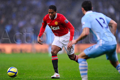 08.01.2012 Manchester, England. Man Utd Midfielder Luis Antonio Valencia (ECU) in action during the second half of the FA Cup Third Round derby clash between Manchester City and Manchester United at the Etihad Stadium.