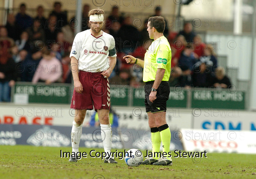 25/03/2006         Copyright Pic: James Stewart.File Name : sct_jspa19_falkirk_v_hearts.STEVEN PRESSLEY GETS HIS HEAD BANDAGE FOR AN INJURY WHICH SAW HIM TAKNE OFF AT HALF TIME........Payments to :.James Stewart Photo Agency 19 Carronlea Drive, Falkirk. FK2 8DN      Vat Reg No. 607 6932 25.Office     : +44 (0)1324 570906     .Mobile   : +44 (0)7721 416997.Fax         : +44 (0)1324 570906.E-mail  :  jim@jspa.co.uk.If you require further information then contact Jim Stewart on any of the numbers above.........