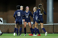 CHAPEL HILL, NC - NOVEMBER 16: Alessia Russo #19 of the University of North Carolina celebrates her second goal with teammates Brianna Pinto #8, and Isabel Cox #13 during a game between Belmont and North Carolina at UNC Soccer and Lacrosse Stadium on November 16, 2019 in Chapel Hill, North Carolina.