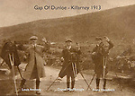 Louis Anthony, Daniel MacMonagle outside and  Franz Haselbeck taking photographs with glass plates in the Gap of Dunloe in 1912.