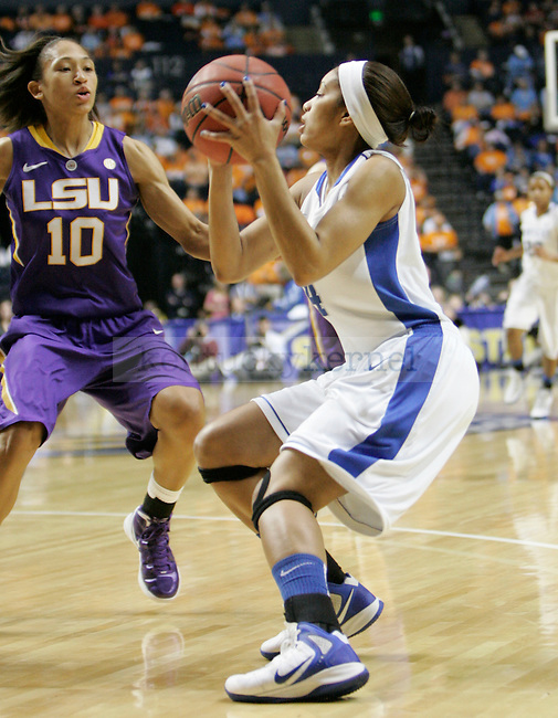 Senior guard Keyla Snowden looks to the basket during the SEC Women's Basketball Tournament game UK Hoops vs. LSU at Bridgestone Arena in Nashville, Tenn., on Saturday, Mar. 3, 2012. Photo by Tessa Lighty | Staff