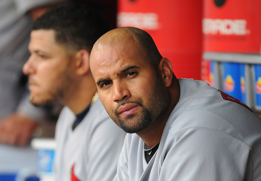 08 JULY 2010: St. Louis Cardinals first baseman Albert Pujols (5) in the dugout during a regular season Major League Baseball game between the Colorado Rockies and the St. Louis Cardinals at Coors Field in Denver, Colorado. The Rockies beat the Cardinals 4-2.  *****For Editorial Use Only*****