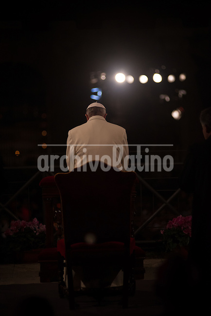 Pope Francis during the celebration of his first Via Crucis infront of thousands of Pilgrims that got to Rome from all over the world