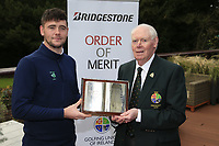 Jim McGovern president of the GUI  with Rob Brazil (Naas) winner of the Bridgestone Order of Merit at the presentations in the GUI National Academy, Maynooth, Kildare, Ireland. 30/11/2019.<br /> Picture Fran Caffrey / Golffile.ie<br /> <br /> All photo usage must carry mandatory copyright credit (© Golffile | Fran Caffrey)