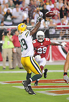 Aug. 28, 2009; Glendale, AZ, USA; Green Bay Packers wide receiver (89) James Jones catches a touchdown pass against the Arizona Cardinals during a preseason game at University of Phoenix Stadium. Mandatory Credit: Mark J. Rebilas-