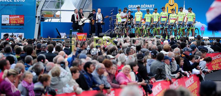 Picture by Simon Wilkinson/SWpix.com 30/06/2016 - Cycling Tour de France 2016. TDF, Team Presentation Sainte - Mere Eglise<br /> copyright picture - Simon Wilkinson - simon@swpix.com