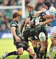 Northampton, England. Lee Dickson of Northampton Saints clears the ball during the Heineken Cup Pool 4 match between Northampton Saints and Glasgow Warriors at Franklin's Gardens on October 14, 2012 in Northampton, England.
