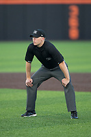 Umpire Andy Stukel handles the calls on the bases during the Carolina League game between the Wilmington Blue Rocks and the Buies Creek Astros at Jim Perry Stadium on April 29, 2017 in Buies Creek, North Carolina.  The Astros defeated the Blue Rocks 3-0.  (Brian Westerholt/Four Seam Images)