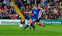 Chesterfield's Andy Kellett deflects a cross from Lincoln City's Harry Anderson into his own net to give Lincoln City their second goal<br /> <br /> Photographer Chris Vaughan/CameraSport<br /> <br /> The EFL Sky Bet League Two - Lincoln City v Chesterfield - Saturday 7th October 2017 - Sincil Bank - Lincoln<br /> <br /> World Copyright &copy; 2017 CameraSport. All rights reserved. 43 Linden Ave. Countesthorpe. Leicester. England. LE8 5PG - Tel: +44 (0) 116 277 4147 - admin@camerasport.com - www.camerasport.com