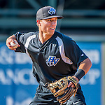 21 July 2016: Hudson Valley Renegades infielder Jonathan Popadics warms up prior to a game against the Vermont Lake Monsters at Centennial Field in Burlington, Vermont. The Lake Monsters edged out the Renegades 4-3 in NY Penn League play. Mandatory Credit: Ed Wolfstein Photo *** RAW (NEF) Image File Available ***