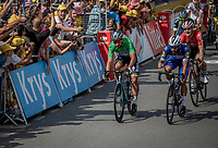 Close finish win by Fernando Gaviria (COL/Quick Step Floors) over Peter Sagan (SVK/Bora Hansgrohe) and Andr&eacute; Greipel (GER/Lotto Soudal) <br /> <br /> Stage 4: La Baule &gt; Sarzeau (192km)<br /> <br /> 105th Tour de France 2018<br /> &copy;kramon