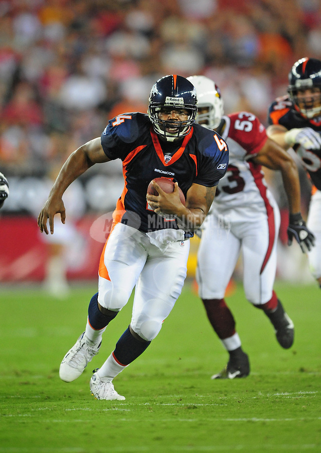 Aug. 29, 2008; Glendale, AZ, USA; Denver Broncos quarterback (4) Darrell Hackney against the Arizona Cardinals at University of Phoenix Stadium. Mandatory Credit: Mark J. Rebilas-