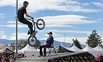 Monster Energy bike riders perform during the Beer and Chili Festival at the Grand Sierra Resort in Reno, Nevada on Saturday, Oct. 21, 2017.