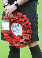 Close-up of the wreath held by referee Lee Collins<br /> <br /> Photographer Kevin Barnes/CameraSport<br /> <br /> Emirates FA Cup First Round - Exeter City v Blackpool - Saturday 10th November 2018 - St James Park - Exeter<br />  <br /> World Copyright © 2018 CameraSport. All rights reserved. 43 Linden Ave. Countesthorpe. Leicester. England. LE8 5PG - Tel: +44 (0) 116 277 4147 - admin@camerasport.com - www.camerasport.com