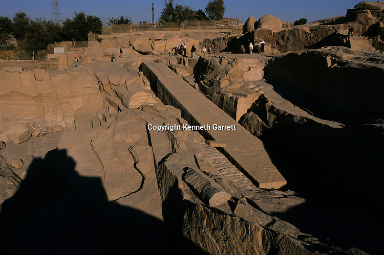 The quarry of the unifinished Obelisk in Aswan, quarry used in Old and New Kingdoms