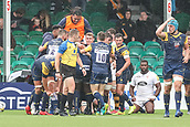 10th September 2017, Sixways Stadium, Worcester, England; Aviva Premiership Rugby, Worcester Warriors versus Wasps; Worcester Warriors team mates celebrate with Biyi Alo of Worcester Warriors after he scores their first try