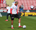 Leon Clarke of Sheffield Utd wears a Weston park Charity t-shirt during the championship match at the Bramall Lane Stadium, Sheffield. Picture date 14th April 2018. Picture credit should read: Simon Bellis/Sportimage