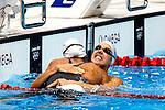 Engeland, London, 3 Augustus 2012.Olympische Spelen London.Ranomi Kromowidjojo pakte Zaterdagavond in het volgepakte Aquatic Centre de gouden Medaille op de 50 meter vrije slag.Marleen Veldhuis (r) pakte het Brons