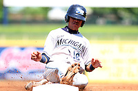 West Michigan Whitecaps outfielder Luis Castillo #16 slides into third during the second game of a double header against the Lake County Captains at Classic Park on May 30, 2011 in Eastlake, Ohio.  Lake County defeated West Michigan 4-3.  Photo By Mike Janes/Four Seam Images