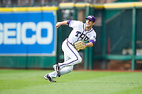 Texas Christian Horned Frogs right fielder Dylan Fitzgerald #38 tracks a fly ball against the Sam Houston State Bearkats at Minute Maid Park on February 28, 2014 in Houston, Texas.  The Bearkats defeated the Horned Frogs 9-4.  (Brian Westerholt/Four Seam Images)