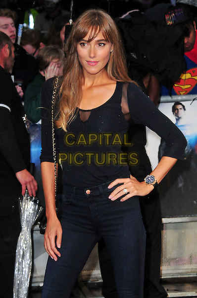 Jacqui Ainsley<br /> 'Man Of Steel' UK film premiere, Empire cinema, Leicester Square, London, England.<br /> 12th June 2013<br /> half length black top jeans denim hand on hip<br /> CAP/BF<br /> &copy;Bob Fidgeon/Capital Pictures