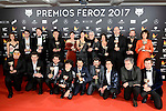 All the winners pose to the media at Feroz Awards 2017 in Madrid, Spain. January 23, 2017. (ALTERPHOTOS/BorjaB.Hojas)