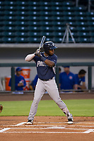 AZL Padres 2 left fielder Olivier Basabe (4) at bat against the AZL Cubs on August 28, 2017 at Sloan Park in Mesa, Arizona. AZL Cubs defeated the AZL Padres 2 9-4. (Zachary Lucy/Four Seam Images)