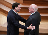 Ambassador of Israel to the United States Ron Dermer, left, converses with US Senator Patrick Leahy prior to the funeral service for the late US Senator John S. McCain, III (Republican of Arizona) at the Washington National Cathedral in Washington, DC on Saturday, September 1, 2018.<br /> Credit: Ron Sachs / CNP<br /> (RESTRICTION: NO New York or New Jersey Newspapers or newspapers within a 75 mile radius of New York City)