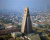 aerial photograph of the Banobras Tower (Torre Insignia) in the Tlateloloco district of Mexico city designed by architect Mario Pani