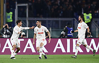 12th January 2020; Stadio Olympico, Rome, Italy; Italian Serie A Football, Roma versus Juventus; Merih Demiral of Juventus celebrates after scoring 3 minutes for 1-0 with Dybala and Pjanic
