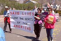 Activists protesting the School of the Americas 4/28/97.  Washington DC USA